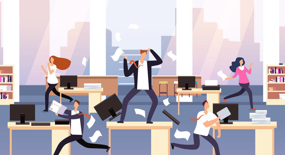 Angry boss. Chaos in office with employees in panic. Businessman in stress and deadline vector concept