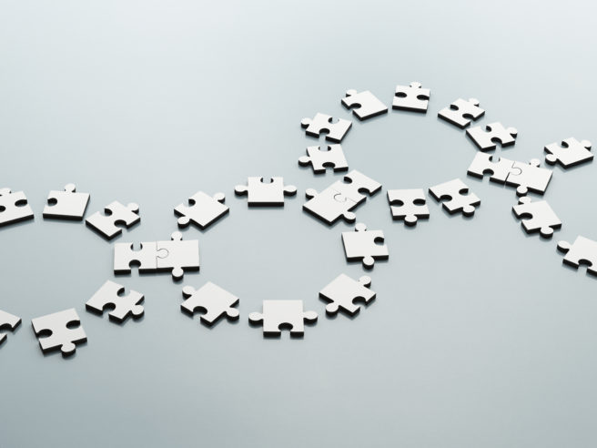 Connected jigsaw pieces